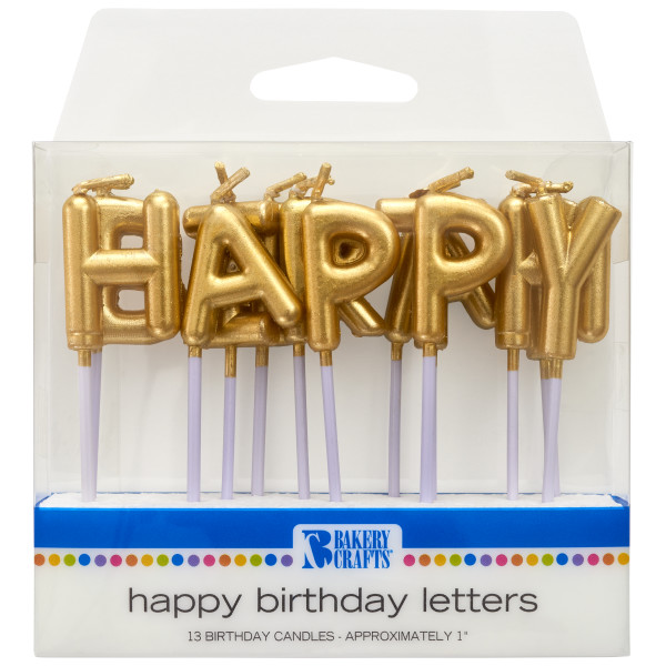 Gold Happy Birthday Letters CandlesGold Happy Birthday Letters Candles
