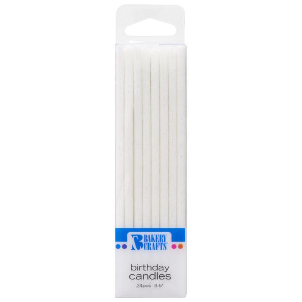 24444 White Glitter Slim Candles